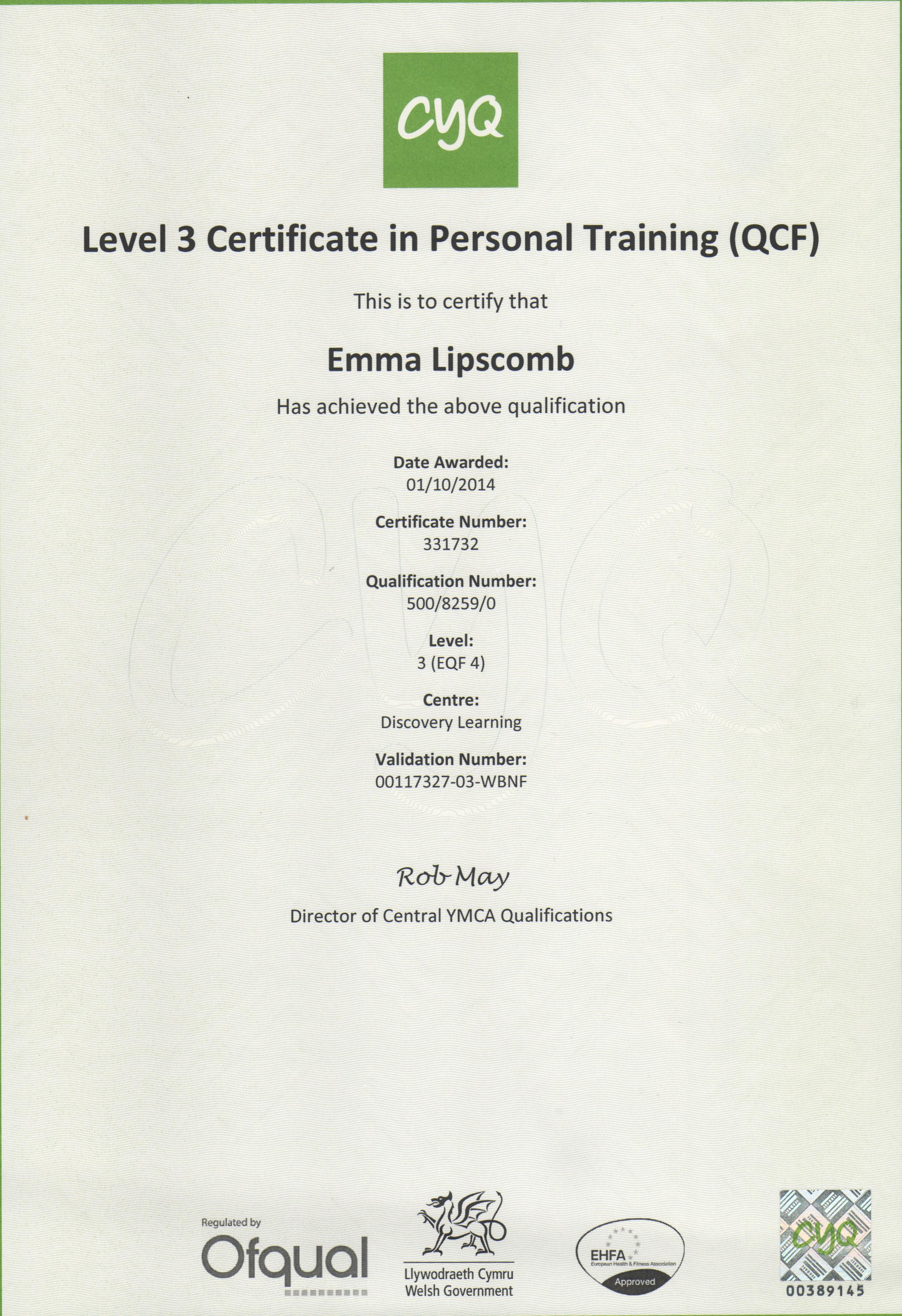 Cyq Pt Certificate 001 Personal Training And Nutrition